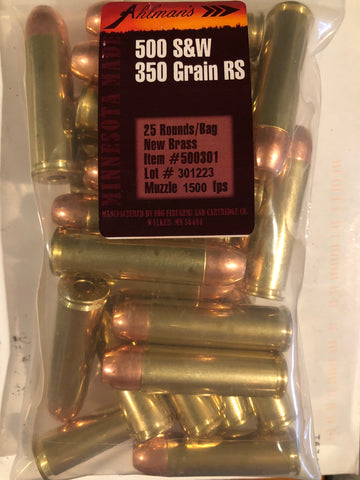 500 S&W Berry's 350 Grain Round Shoulder, New Brass 100 Rounds, 4-25 Round Bags, Free Shipping