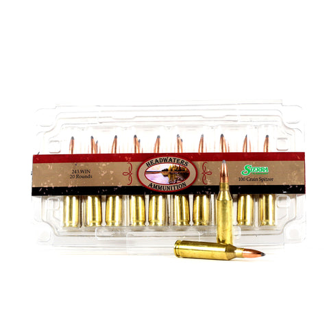 Headwaters Ammunition 243 WIN Sierra 100 Grain Spitzer Box of 20 Rounds