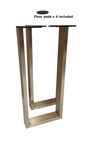 "Console Table U-Leg Pair 28"" height x 12"" wide with Straight Sides - Satin Brass Plated"
