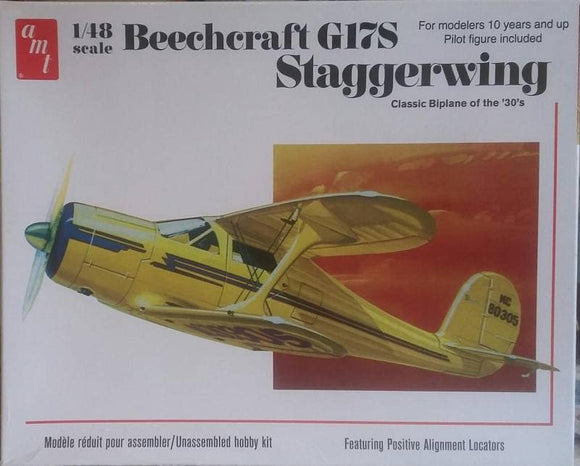 Beechcraft G17S Staggerwing Transport Plastic Model Aircraft Kit AMT886