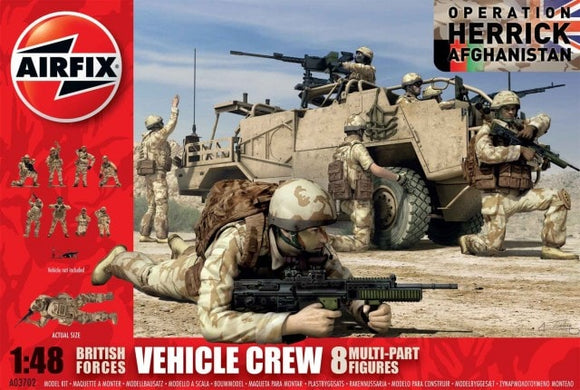 British Forces Vehicle Crew Set Military Figures 1/48 Scale Airfix A03702