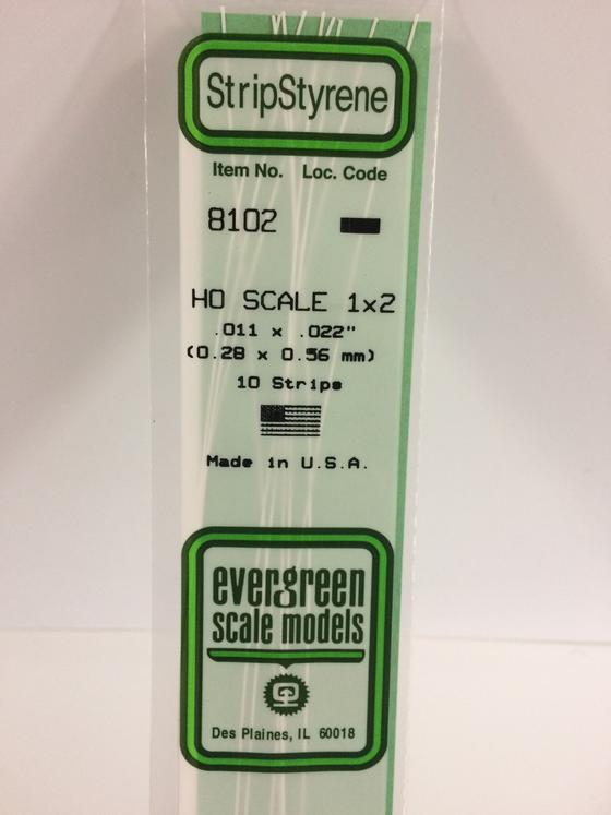 Styrene Strips   HO Scale Evergreen 8102