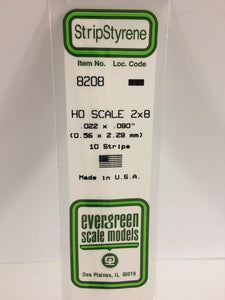 Styrene Strips Ho Scale Evergreen 8208