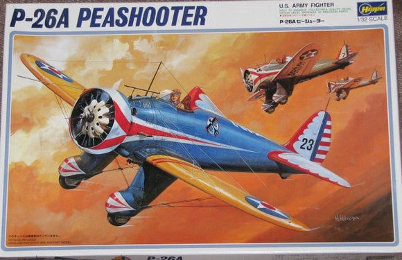 Boeing P26A Peashooter Fighter 1/32 Scale Plastic model Airvraft Hasegawa 8008