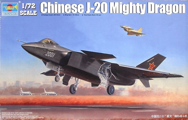 Chinese J-20 Mighty Dragon Fighter 1/72 Scale Plastic Model Kit
