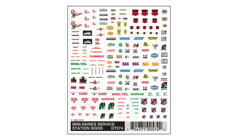 Service Station Signs Mini Decals