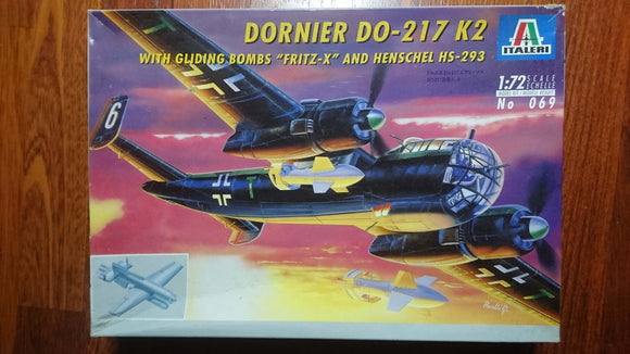 Dornier Do 217 K-2 1/72 Scale Plastic Model Kit Italeri 069