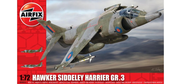 Hawker Siddley Harrier GR 3 1/72 Scale Plastic Model Kit Airfix A04055