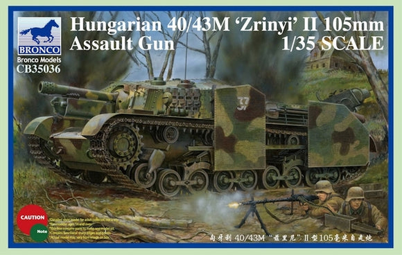 Hungarian 40/43M Zrinyi Assault Gun 1/35 Scale Plastic Model Kit Bronco models CB35036