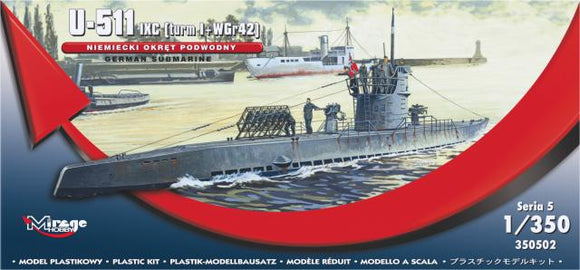 Type lXC German U-Boat 1/350 Scale Plastic Model Kit Mirage Hobby 350502
