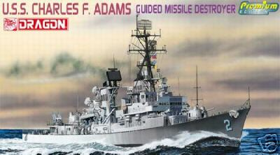 USS Charles F. Adams Guided Missle Destroyer 1/700 Scale Plastic Model Kit Dragon 7059