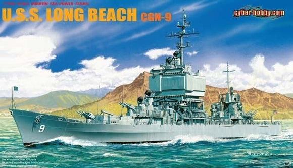 USS Long Beach CGN-9  Guided Missle Cruiser 1/700 Scale Plastic Model Kit Dragon 7091