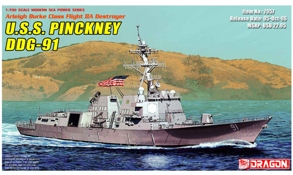 USS Pinckney DDG-91 Guided Missle Destroyer 1/700 Scale Plastic Model Kit Dragon 7057