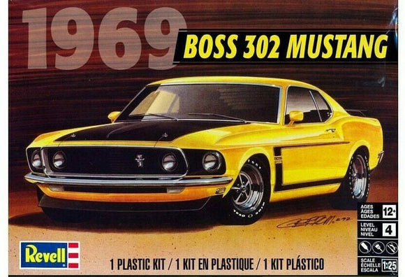 1969 Ford Mustang Boss 302 1/25 Scale  Plastic Model Car Kit Revell 85-4313