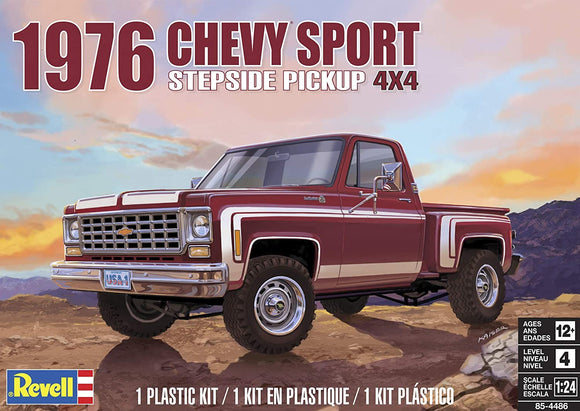 1976 Chevy Sport Stepside Pick up Truck 1/24 Scale  Plastic Model Car Kit Revell 85-4486