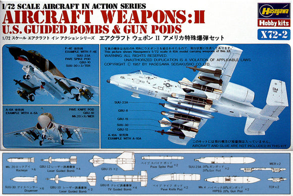 U.S. Guided Weapons Set Aircraftr 1/72 Scale Plastic Model Kit Hasegawa X72-2