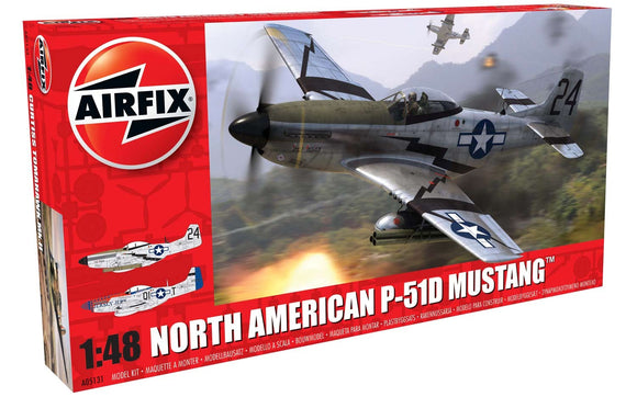 North American P51D Mustang 1/48 Scale Plastic Model Kit Airfix A05131