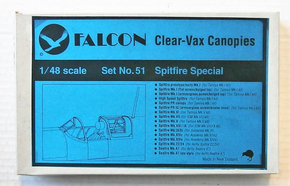 Clear Vax Canopy Set Spitfire Special 1/72 Scale Plastic Model Kit