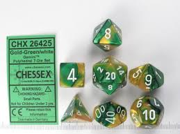 Gemini Gold-Green 7 pc. Dice Set