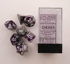 Gemini Purple-Steel 7 pc. Dice Set