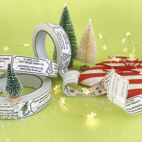 Paper tape for wrapping presents with Christmas jokes printed on it
