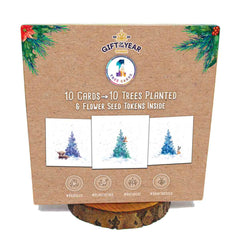 A box of festive Christmas cards from 1 Tree Cards including seed tokens