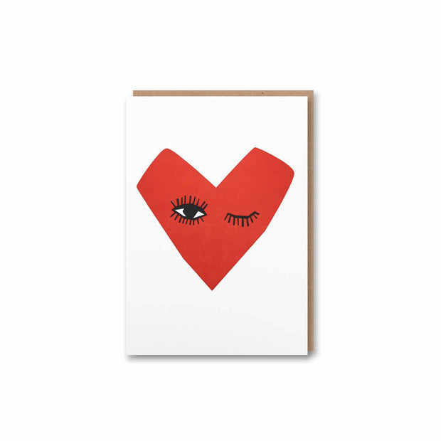 Winking Heart Letterpress Greeting Card