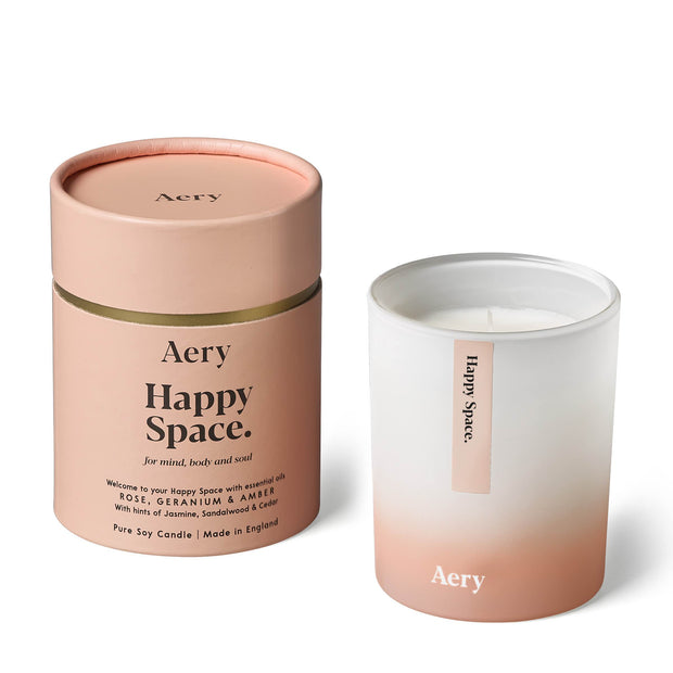 Happy Space Scented Candle - Rose Geranium & Amber
