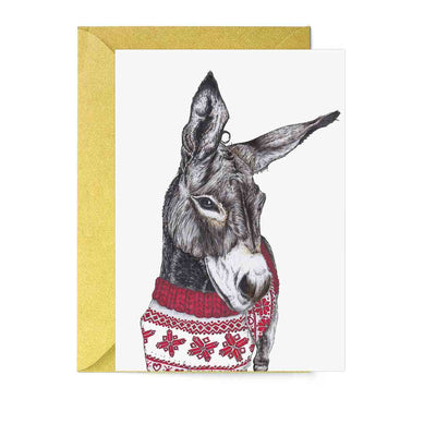 Santa's Helper Donkey Greeting Card