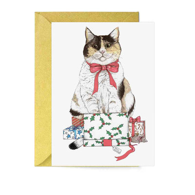 Santa's Helper Cat Greeting Card