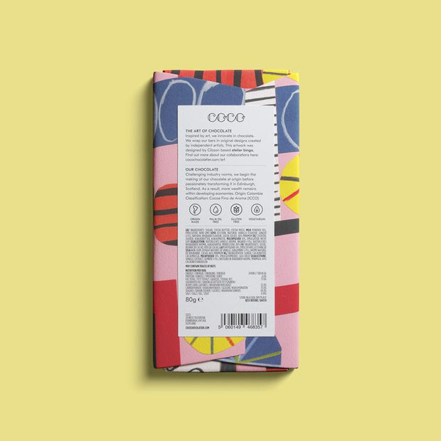 Rhubarb & Ginger Milk Chocolate Bar 80g