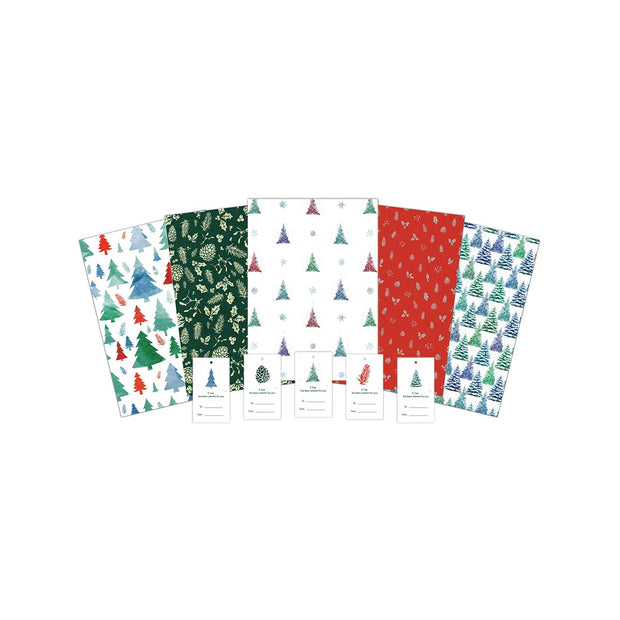 Eco Festive Wrapping Paper Pack 10 Sheets with Flower Seed Gift Tags