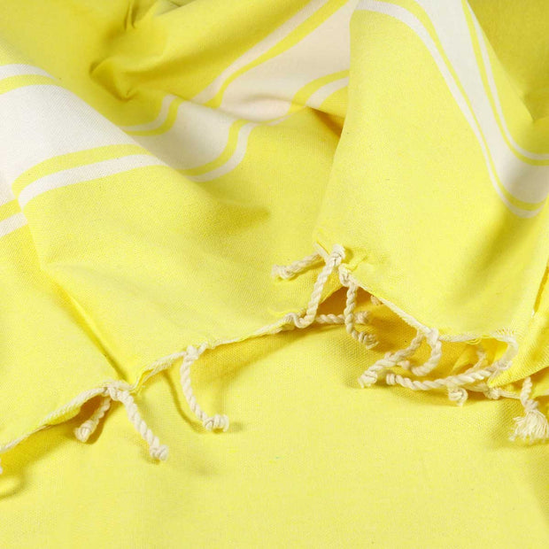 Lemon Handwoven Fouta or Hammam Towel - Recycled Cotton