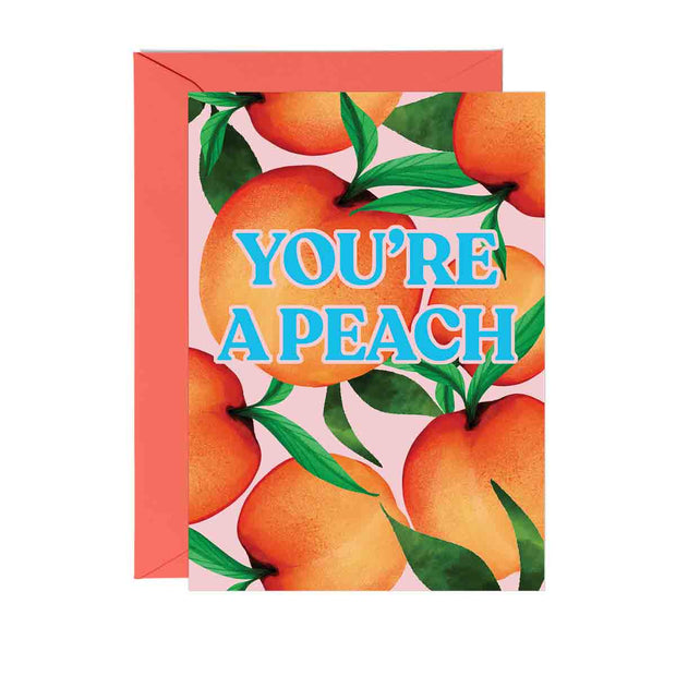 Peaches on a pink background with 'You're a Peach' written in blue and pink writing.