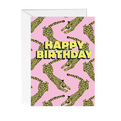 Happy Birthday Leopard Greetings Card