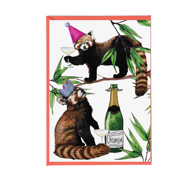 Party Red Panda Greetings Card