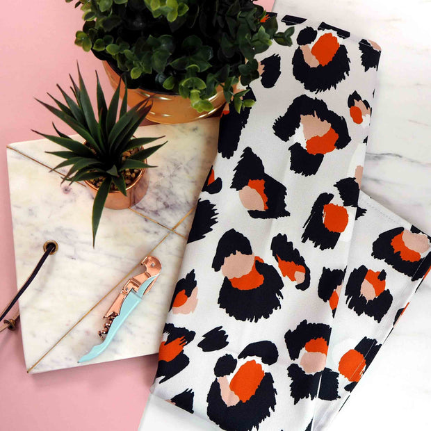 Grey & Orange Leopard Print Tea Towel
