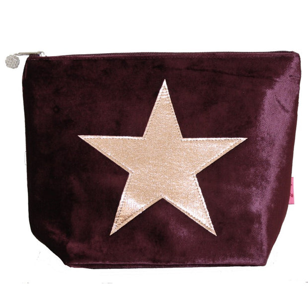 Large Velvet Star Cosmetic Bag - Fig