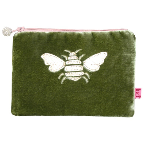 Bee Coin Purse in Olive