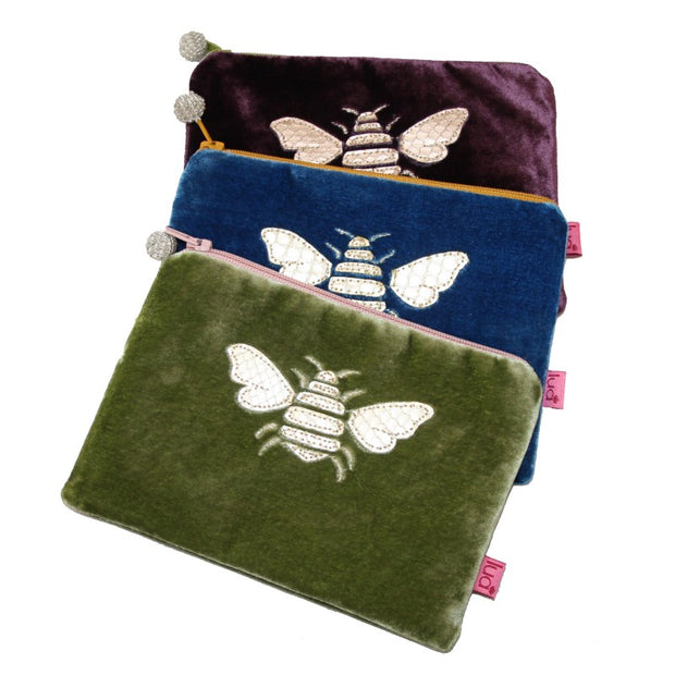 Bee Coin Purse in Fig
