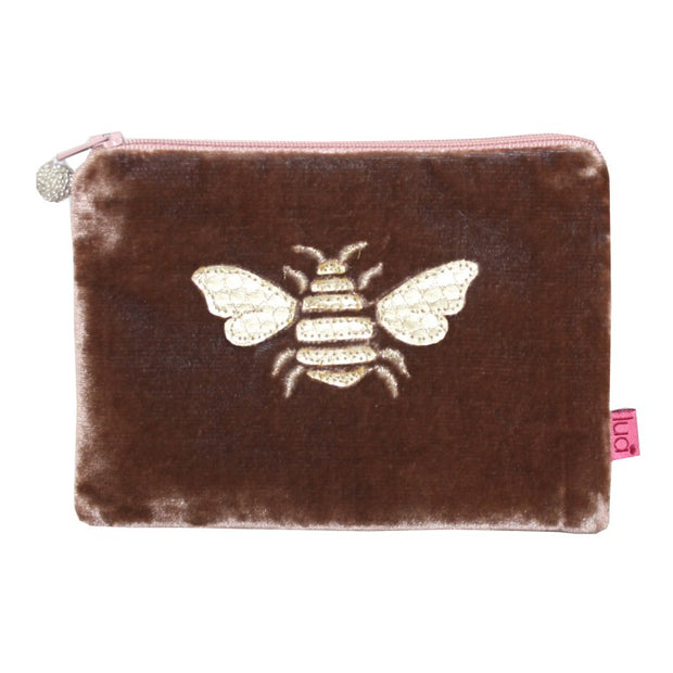 Bee Coin Purse in Mink