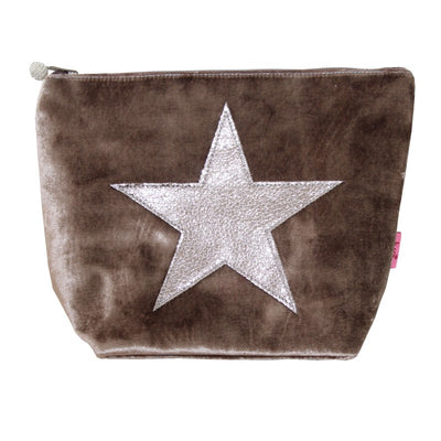 Large Velvet Star Cosmetic Bag - Mink