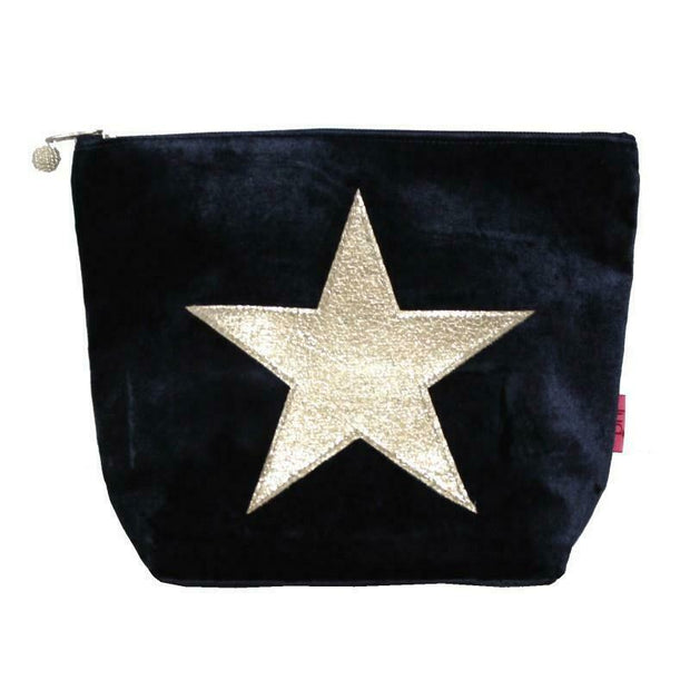Large Velvet Star Cosmetic Bag - Navy