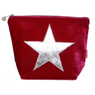 Large Velvet Star Cosmetic Bag - Hot Pink