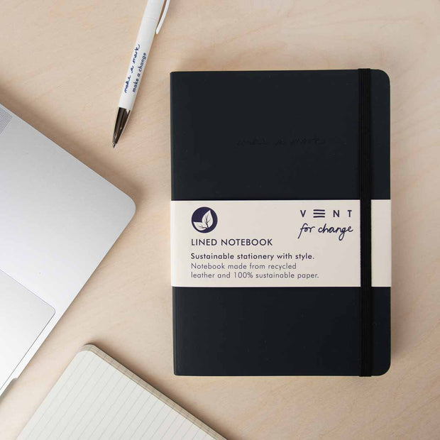 Recycled Leather A5 Notebook – Charcoal Grey