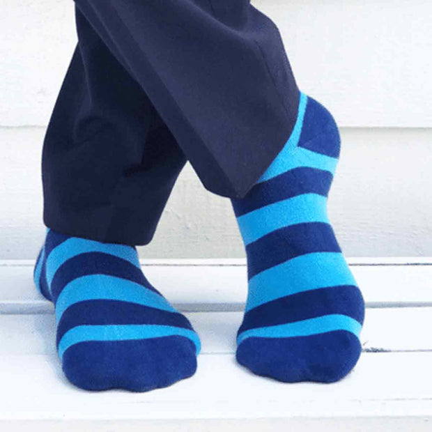Men's Sky Blue Striped Bamboo Socks
