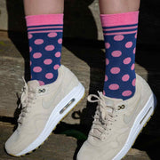 Women's Navy & Pink Polka Dot Bamboo Socks