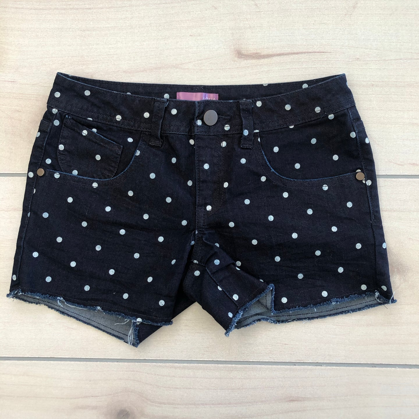 Aqua Denim Spotty Shorts Size 12