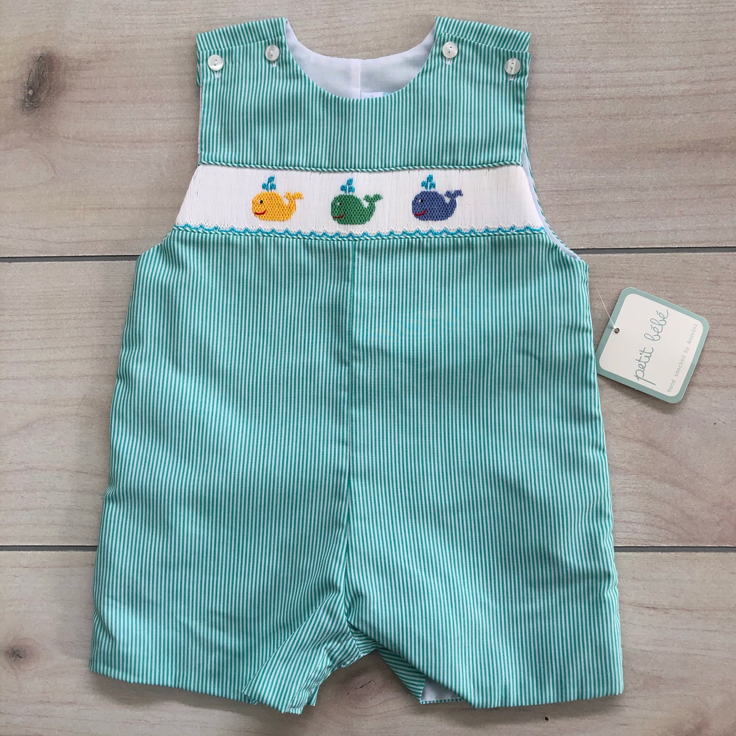 Petit Bébé Green Striped Whale Shortall 18 Months NWT