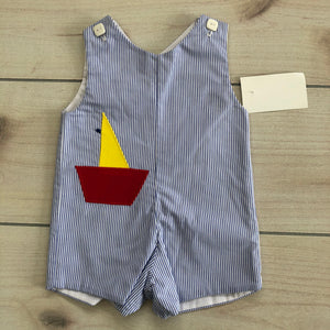 Blue Seersucker Appliqué Sailboat Size 6 months NWT
